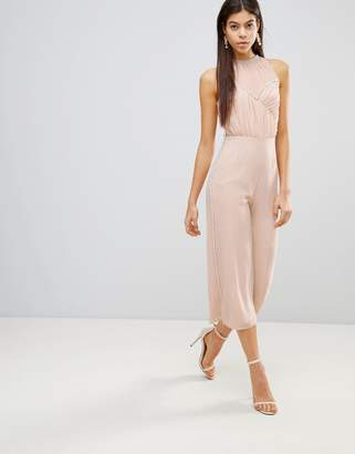 Asos Design Jumpsuit with Pearl Embellishment
