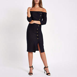 River Island Navy stripe bardot button front bodycon dress