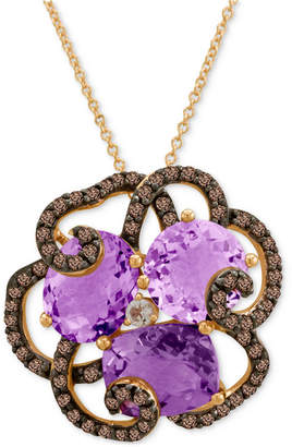 LeVian Le Vian Crazy Collection Amethyst (3/4 ct. t.w.), Smoky Quartz (5/8 ct. t.w.) and White Topaz Accent Pendant Necklace in 14k Rose Gold