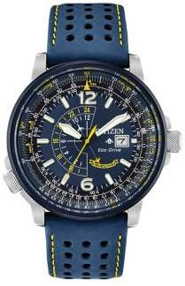 Citizen Angel Nighthawk Stainless Steel and Leather-Strap Watch