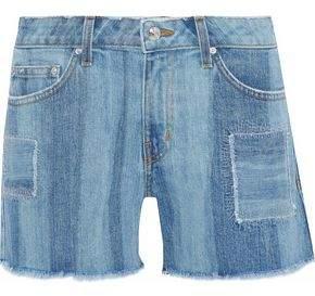 Derek Lam 10 Crosby Liv Faded Patchwork Denim Shorts