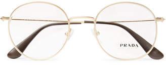 Prada Round-Frame Gold-Tone Optical Glasses
