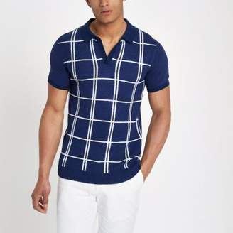 River Island Mens Navy check revere slim fit knit polo shirt