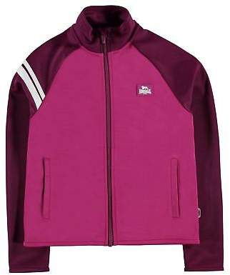 Lonsdale London Kids Girls 2 Stripe Track Jacket Junior Tracksuit Top Coat Chin Guard