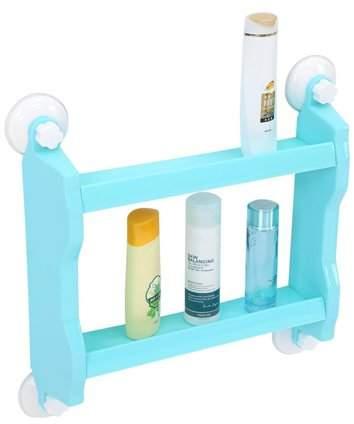 TMISHION Suction Shelf Suction Bathroom Organizer Shower Storage Shelf Wall Mount Storage Shelf (Blue)