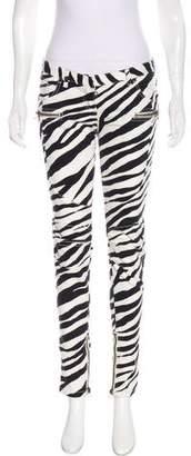 Balmain Low-Rise Zebra Print Skinny Jeans