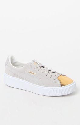 Puma Women's White Suede Platform Gold Sneakers $100 thestylecure.com