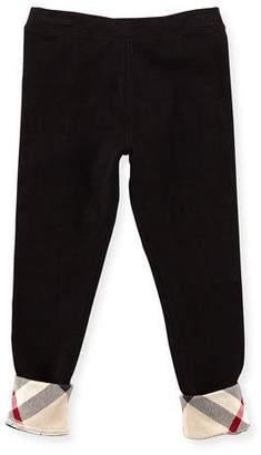 Burberry Penny Girls' Check-Trim Leggings, Black, 4Y-10Y
