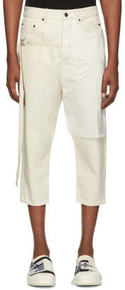 Rick Owens Off-White Combo Collapse Cropped Jeans