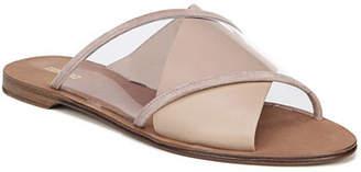 Diane von Furstenberg Bailie-4 Clear Crisscross Slide Sandals