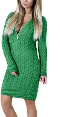 Vemubapis Women Monocolor Zip Up High Neck Bodycon T Shirt Dress S