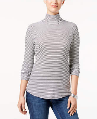 Style&Co. Style & Co Micro-Striped Turtleneck Top, Created for Macy's