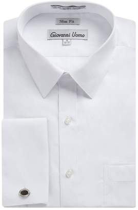1921 Gentlemens Collection Men's Slim Fit French Cuff Dress Shirt