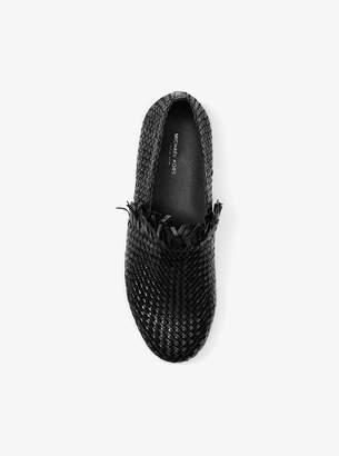 Michael Kors Rae Woven Leather Slip-On Sneaker