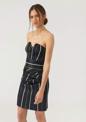 Emporio Armani Sweetheart Neckline Dress In Pinstripe Lurex Fabric