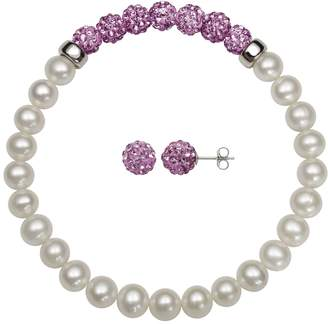 Sterling Silver Freshwater Cultured Pearl & Crystal Jewelry Set