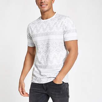 River Island White slim fit Christmas foil print T-shirt