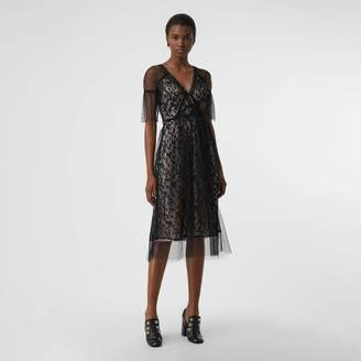 Burberry Ruffled Hem Embroidered Tulle Dress