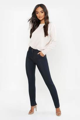 boohoo Petite High Rise One Button Skinny Jegging