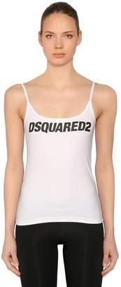DSQUARED2 Logo Printed Cotton Jersey Tank Top