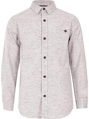 River Island Boys pink long sleeve herringbone shirt