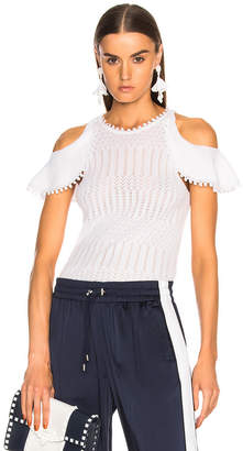 Jonathan Simkhai Lacy Crochet Cold Shoulder Top