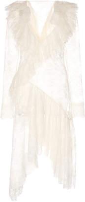 Philosophy di Lorenzo Serafini Ruffled Sheer Leaver's Lace Dress