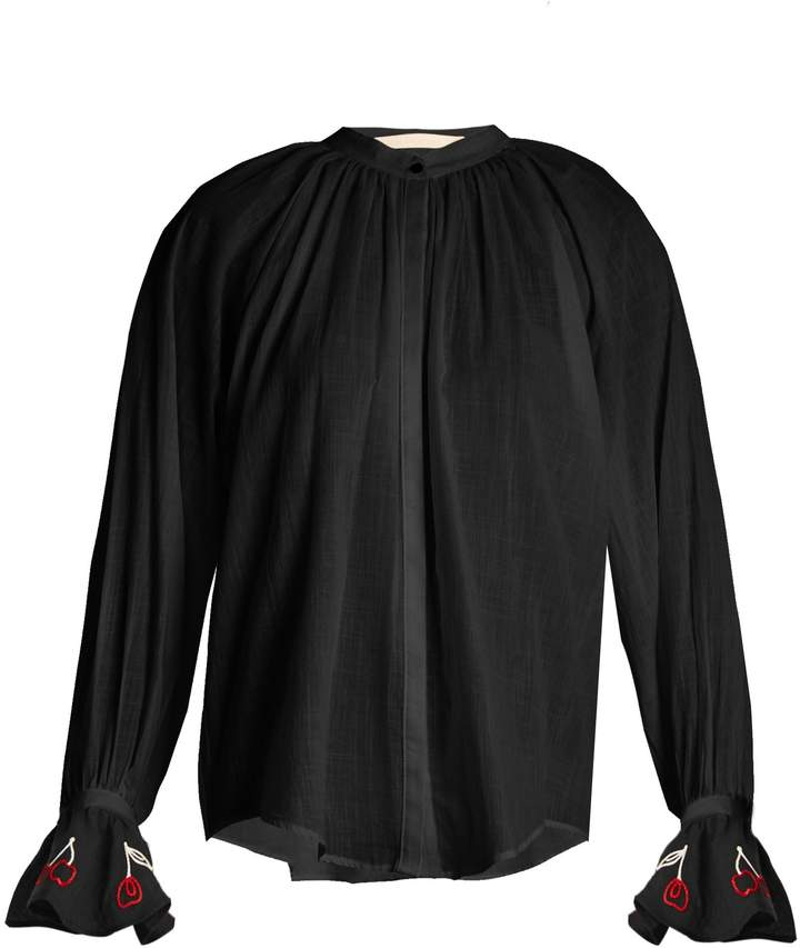 BLISS AND MISCHIEF Cherry-embroidered cotton-voile shirt