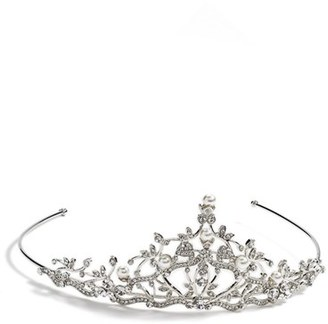 Nina Crystal And Pearly Bead Tiara $78 thestylecure.com