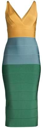Herve Leger V-Neck Colorblock Midi Dress