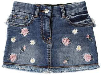MonnaLisa Floral Denim Effect Cotton Sweat Skirt