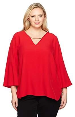 Calvin Klein Women's Plus Size Bell SLV V-nk W/hwre