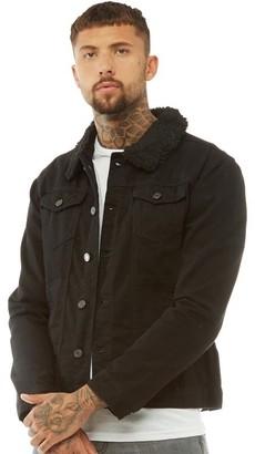 c3d9ca7b983 Brave Soul Mens Wilbur Borg Collar Denim Jacket Black Denim
