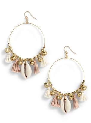 Chan Luu Tassel & Cowry Shell Hoop Earrings