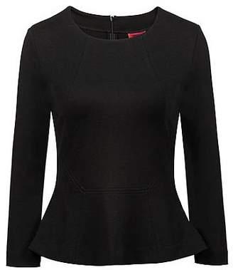 HUGO BOSS Regular-fit top in stretch jersey with peplum hem