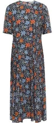 Acne Studios Pintucked Floral-print Crepe Midi Dress