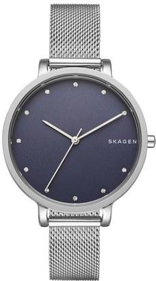 Women's Skagen Hagen Round Mesh Strap Watch, 34Mm $155 thestylecure.com