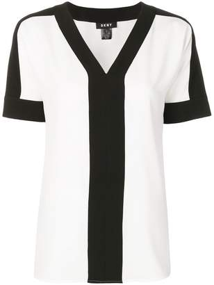 DKNY contrast panels blouse