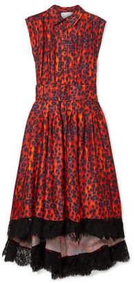 Koché - Lace-trimmed Leopard-print Satin Dress - Red