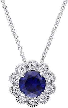 Laura Ashley Diamond Bouquet 10K White Gold 0.25 CT. T.W. Diamond Flower Pendant Necklace