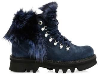 Montelliana 1965 Aurora Fox Fur-Trim, Shearling-Lined Suede Hiking Boots