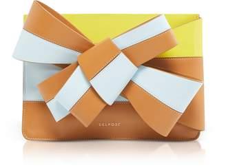 DELPOZO Color Block Leather Clutch