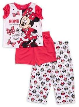 AME Sleepwear Little Girl's Three-Piece Minnie Mouse Top, Shorts and Pants Pajama Set