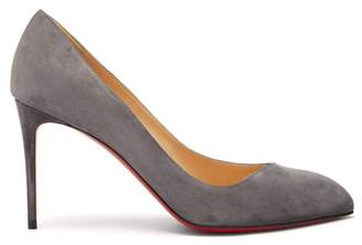 Christian Louboutin Corneille 85 Asymmetric Suede Pumps - Womens - Grey
