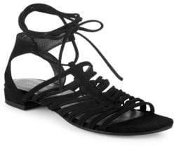 Stuart Weitzman Knotagain Suede Caged Platform Wedge Sandals