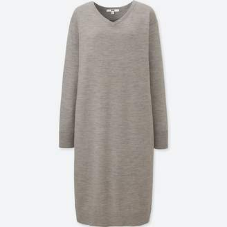 Uniqlo WOMEN Merino Blended V Neck Long Sleeve Dress