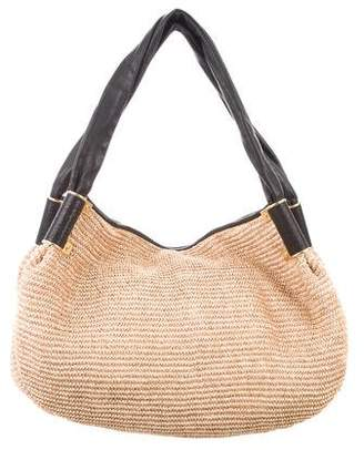 Kara Ross Leather-Trimmed Straw Tote