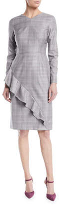 Escada V-Neck Long-Sleeve Asymmetric-Ruffle Glen Plaid Sheath Dress