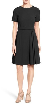 Women's Boss Dalinkana Belted Pleated Fit & Flare Dress $625 thestylecure.com