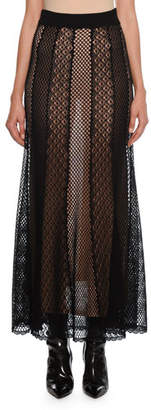 Alexander McQueen Engineered-Patchwork Mesh Maxi Skirt